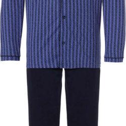 Doorknoop herenpyjama blauw ruitmotief Pastunette | Spinze.nl