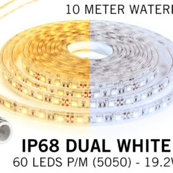 Dual White IP68 Waterdicht Led Strip | 10m 60 Leds pm Type 5050 Losse Strip | Spinze.nl