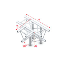 Showtec GT30 driehoek truss T-kruis + omlaag 4 richtingen | Spinze.nl