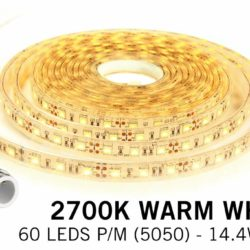Warm Wit IP68 Waterdicht Led Strip | 60 Leds pm Type 5050 Losse Strip | Spinze.nl